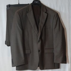 2 Piece Chaps Brown / Gray Suit Jacket and Pants